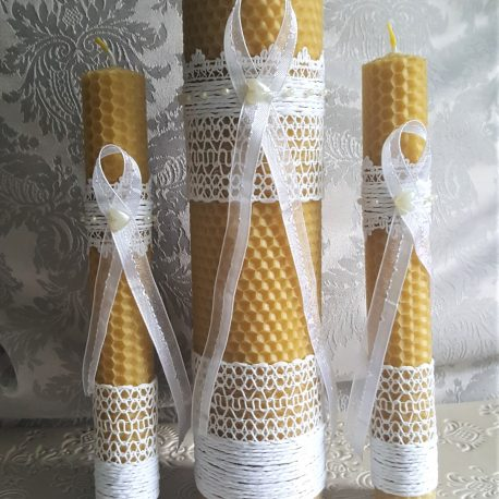 Unique individually hand-rolled rustic wedding ceremony candle set