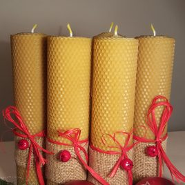 Red Berry HoneyComb Pillar Candle – 26 cm high.