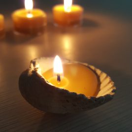 An Original Home with a lovely seashell candle