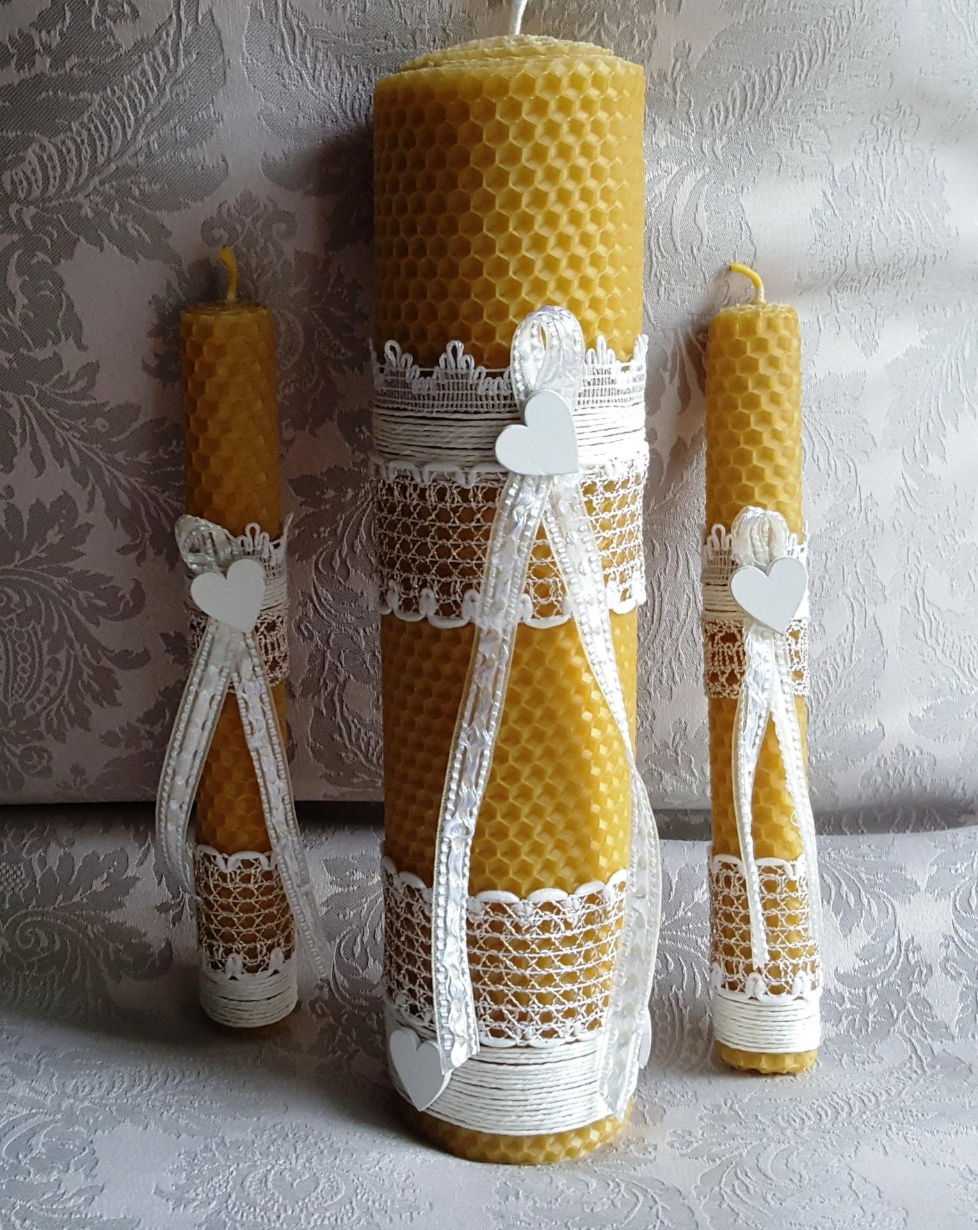 Unique rustic wedding ceremony candle set