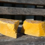 Beeswax blocks on the bench