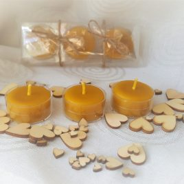 Tealight Candle set of 3 Pure Beeswax Candles. Burning time up to 3 hours