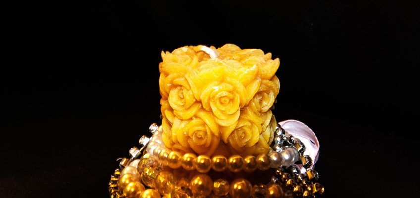 Beeswax Rose Pillar Candle Decorated with Perls