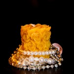 Valentine Day, Gift, pillar candle, warm, yellow, decorated with perl bracelet