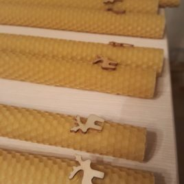 Beeswax Honeycomb Tapers 20 cm high – Set of Two