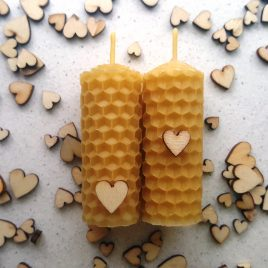 Little Valentine's gift – 2 Tiny Honeycomb Candles