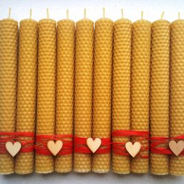 Valentine's gift – Honeycomb Tapers 20 cm high – Set of Two