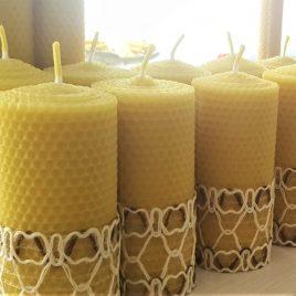HoneyComb Pillar Candle – 13 cm high