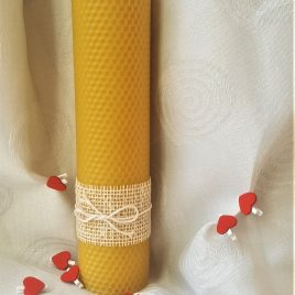 HoneyComb Pillar Candle – 26 cm high. Burning time up to 40 hours