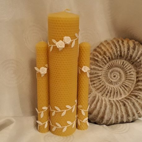 beeswax candle Unique hand-rolled rustic wedding candle set