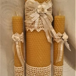 "Unique hand-rolled rustic wedding candle set ""Rose"""
