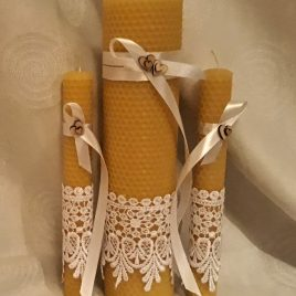 "Beeswax Unique hand-rolled rustic wedding candle set ""Dew"""