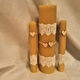 "Unique hand-rolled rustic wedding candle set ""Heart"""