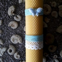 Christening Candle (pink or blue). Honeycomb Taper – 26 cm high.