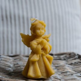 Praying angel bees wax candle