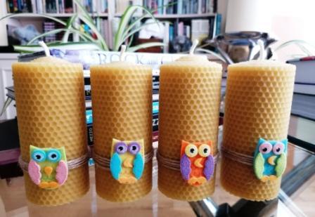 """HoneyComb Pillar Candle beeswax natural """"Owl"""""""