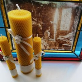"""Beeswax Unique hand-rolled rustic wedding candle set """"Rose"""""""