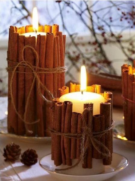 candle display with cinamon